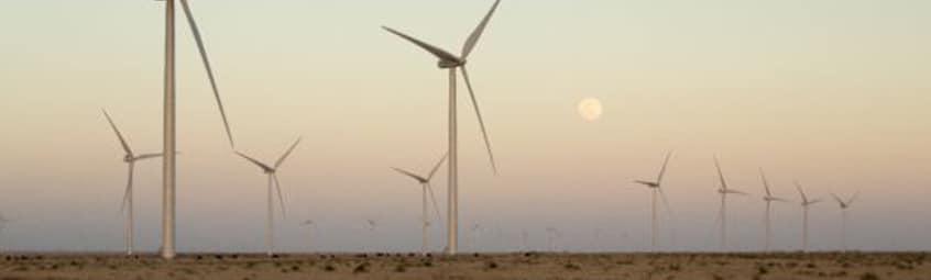Photo du parc éolien terrestre de Roosevelt aux Etats-Unis (Nouveau Mexique)