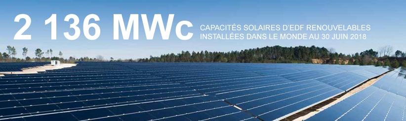 2 136 MW de capacité solaire installée dans le monde au 30 juin 2018